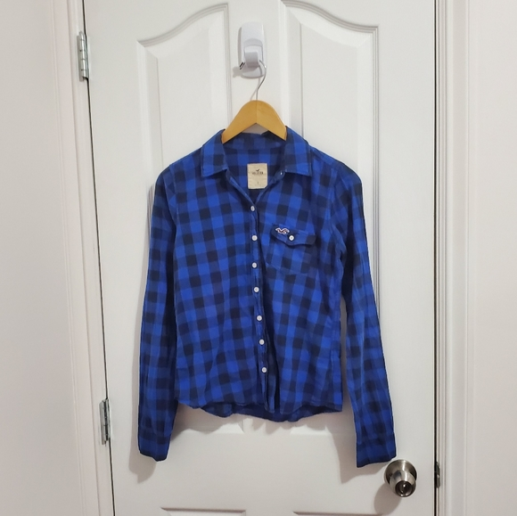 Hollister Blue Plaid Flannel Shirt
